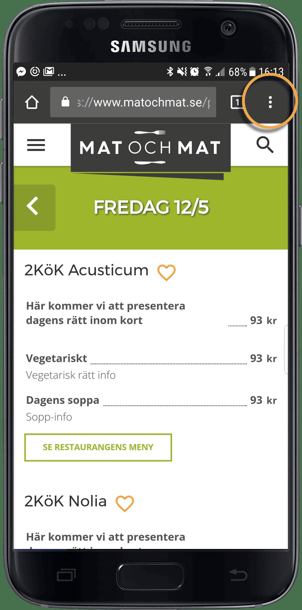 Lägg till på hemskärm, steg 1 (Android)